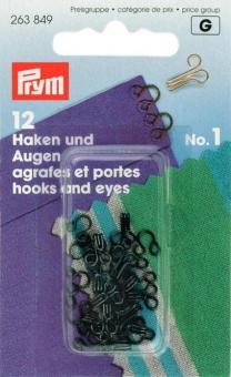Prym Federhaken und Augen MS 1 schwarz