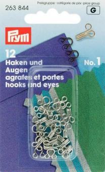 Prym Federhaken und Augen MS 1 silberfarbig