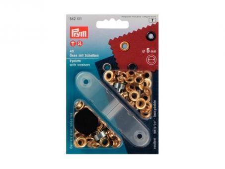 Prym oesen und Scheiben MS 5,0 mm goldfarbig      AUSVERKAUFT