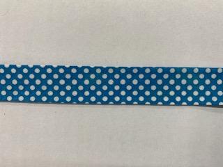 Tupfen-Schrägband türkis  20mm