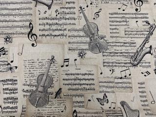 Leinenoptik bedruckt Musiknoten