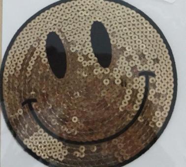 Pailletten-Smiley gold zum aufbügeln