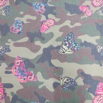 Jeans-Stretch Camouflage  oliv mit Schmetterlingen