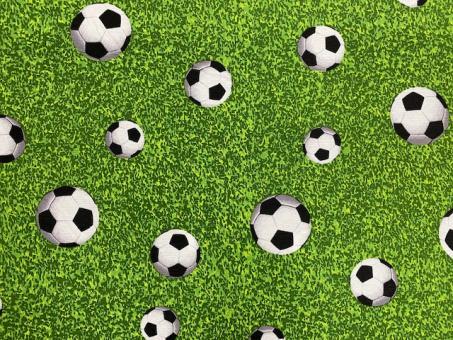 Fussball auf Wiese Dekostoffe 140cm breit