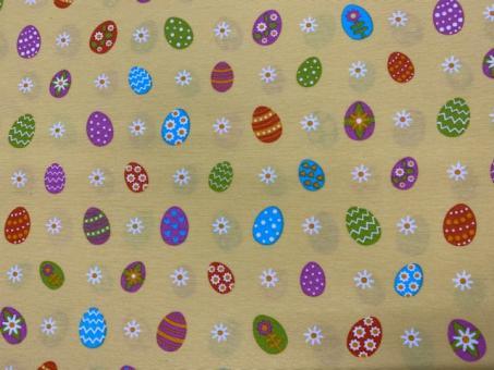 bunte Eier gelbgrundig Dekostoffe 140cm breit