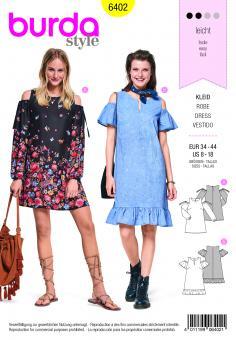 Nr. 6402 Ausgestelltes Kleid - Schulter Cut Outs-Saumrüsche