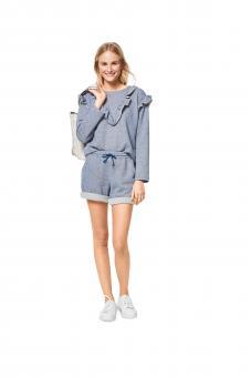 Nr. 6406 Sweater mit Bündchen, Hoddy- Shirt mit Rüsschen