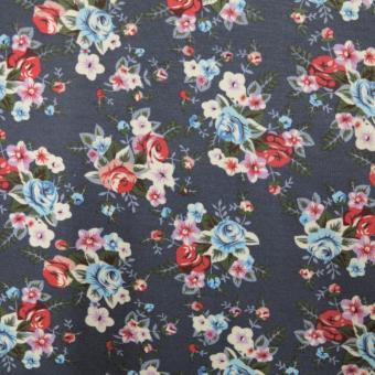 Sweat mit Blumendruck grau-rot-blau