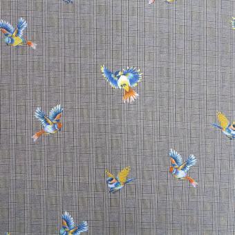 Viskose-Crepe Glencheck mit Vögeln