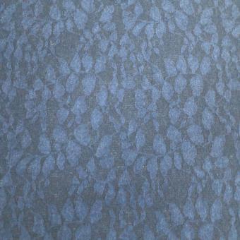 Jacquard-Strick Blätter dunkelblau