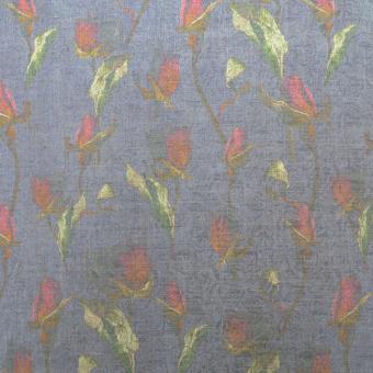 Jacquard-Druck Rosen blau-rot Changeant