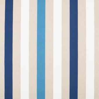 Leinendruck 140cm Streifen blau-weiß