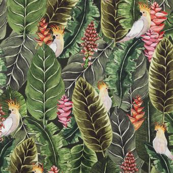 Blätter mit Papagei oliv