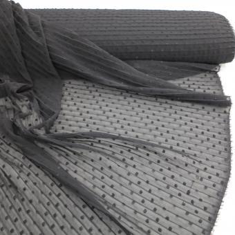 Tupfen-Plissee Crepe schwarz  noch 2,05m vorrätig