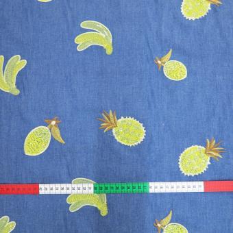 Blusen-Jeans bestickt mit Ananas und Bananen  5,0m vorräti