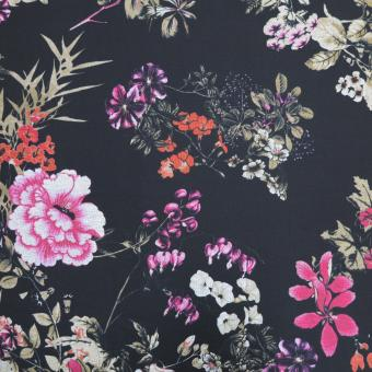 Romanit-Jersey bedruckt Blumen schwarz-bunt