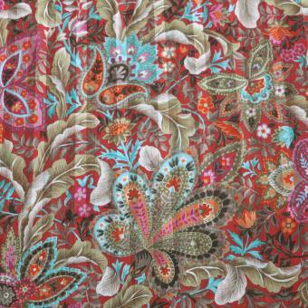 Chiffondruck Paisley mit Lurex rostfarben