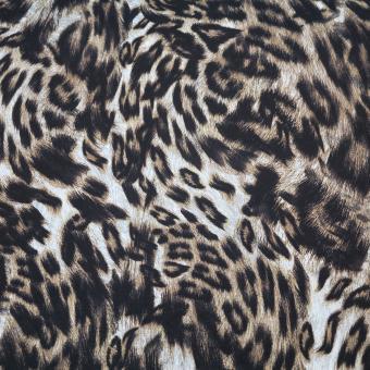 elast. Jersey Druck Leopard braun-beige
