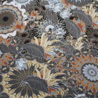Jerseydruck Mandala grau-rost-beige