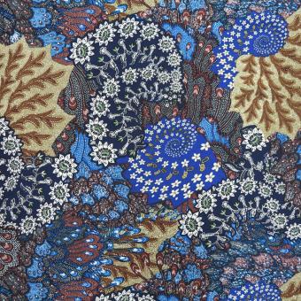 Viskose-Twill Blumen blau-bunt