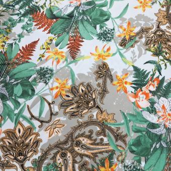 Viskose-Twill Paisley Blumen oliv-grün-orange