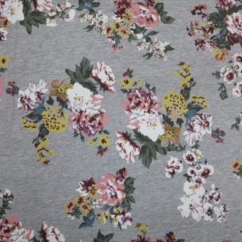 Sweat Druck Blumen melangegrau-bunt   2,45m vorrätig