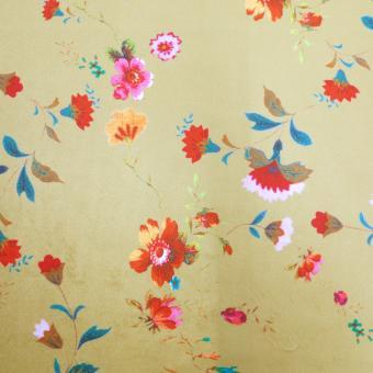 Samt bedruckt ocker mit Blumen