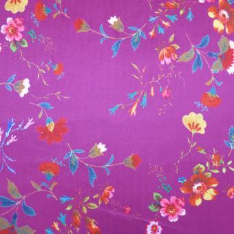 Samt bedruckt fuchsia  mit Blumen