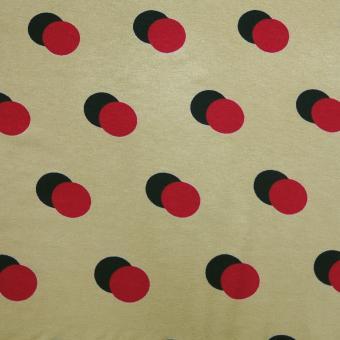 Jersey Stretch Tupfen senf-rot-schwarz