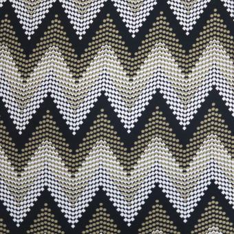 elast. Jerseydruck Zacken schwarz-beige