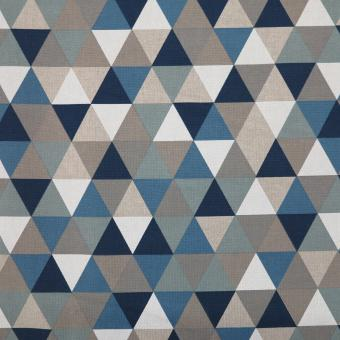 Leinendruck 140cm 3-Ecke  blau-weiß