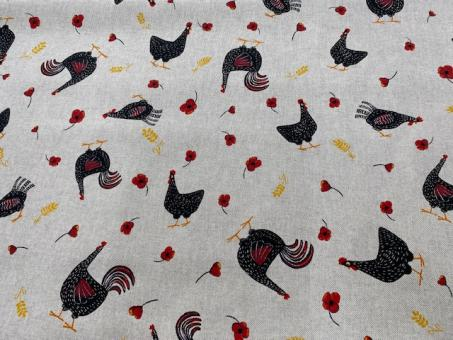 Leinendruck 140cm Hühner schwarz