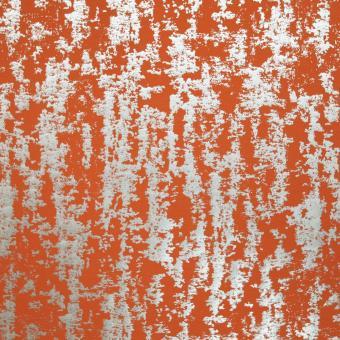elast. Twill mit Foliendruck orange-silbern