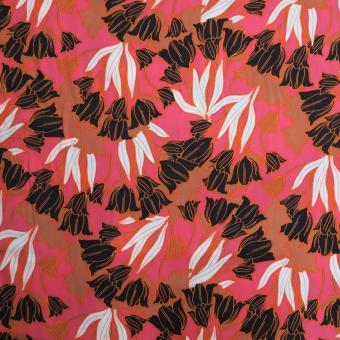 Viskose-Satin bedruckt coral-schwarz-rost