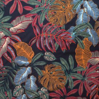 Jersey Druck Blätter schwarz-grün-rost