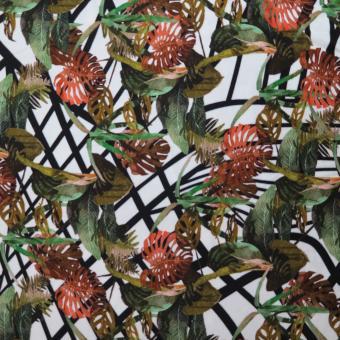 Jersey Druck Palmenblätter weiß-schwarz-grün-rost
