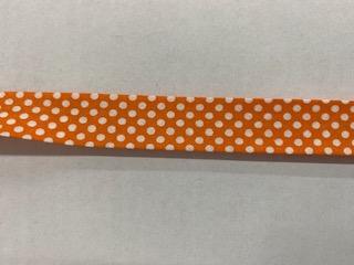 Tupfen-Schrägband orange   20mm