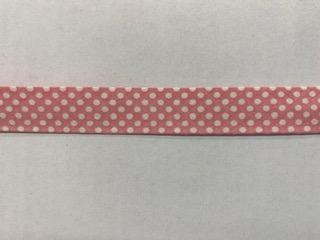 Tupfen-Schrägband rosa 20mm