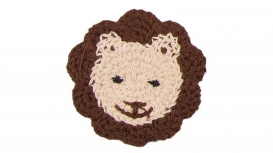 Cotton Häkel-Patch Löwenkopf braun-beige