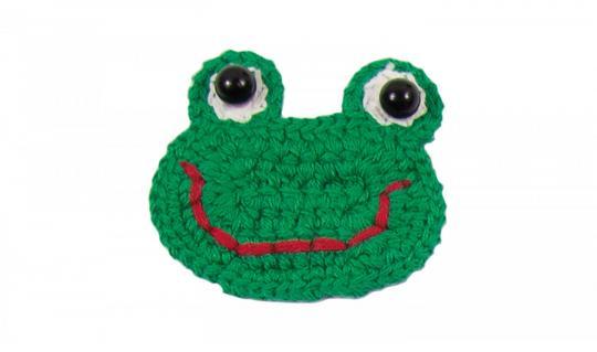 Cotton Häkel-Patch Froschgesicht grün