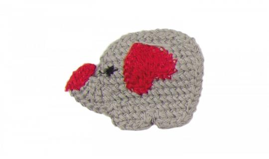 Cotton Häkel-Patch Elefant grau-rot