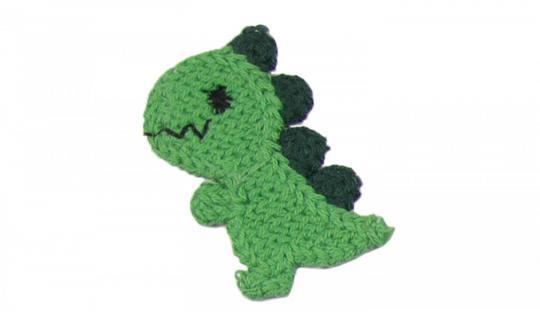Cotton Häkel-Patch kleiner Drache grün