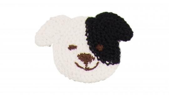 Cotton Häkel-Patch Hündchen weiß-schwarz