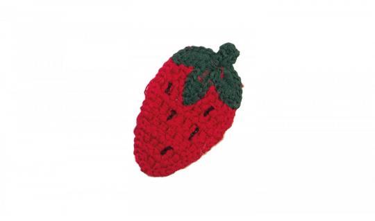 Cotton Häkel-Patch Erdbeere rot-dgrün