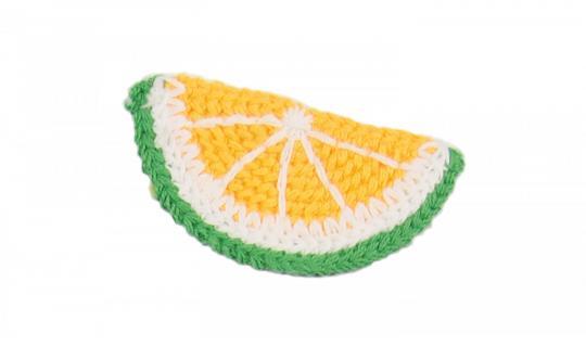 Cotton Häkel-Patch Zitronenscheibe gelb-grün