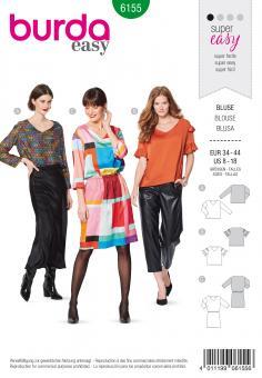 Burda 6155 Bluse und Kleid mit V-Ausschnitt