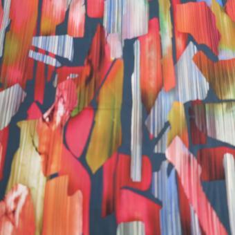 Viskose Digitaldruck jeansblau-bunt