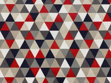 Leinendruck 140cm 3-Ecke  rot-weiß-grau