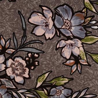 Jersey Druck Blume taupe-jeans-grün