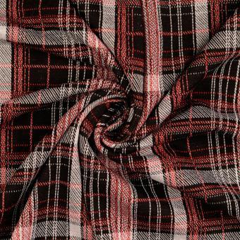 Karo-Jersey mit Lurex schwarz-rot-silber